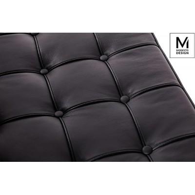 Modesto Design MODESTO sofa dwuosobowa BARCELON czarna - ekoskóra, stal polerowana T03-2.BLACK.PU