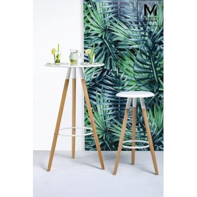 Modesto Design MODESTO stolik barowy DIPP biały - blat MDF, podstawa bukowa BZ001.WHITE