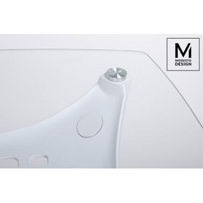 Modesto Design MODESTO stół HIDE SQUARE biały - blat szklany,  podstawa drewniana X002B.GLASS