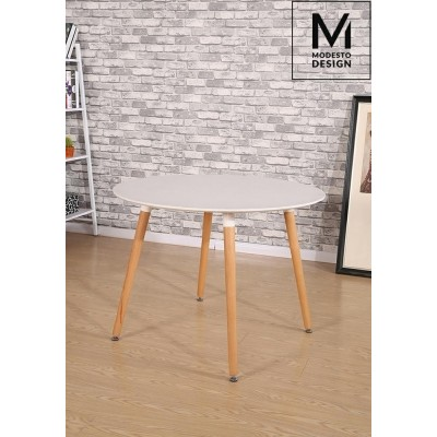 Modesto Design MODESTO stół LIVING FI 100 biały - blat MDF, bukowe nogi B007