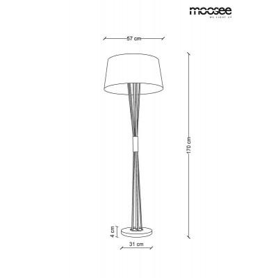 Moosee MOOSEE lampa podłogowa SNITCH FLOOR  - złota podstawa, biały klosz MSE010200122