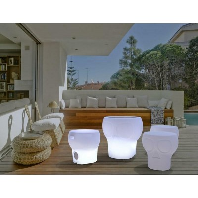 New Garden NEW GARDEN stołek CALVIN SOLAR bialy - LED, sterowanie pilotem MOBCV040SSNW