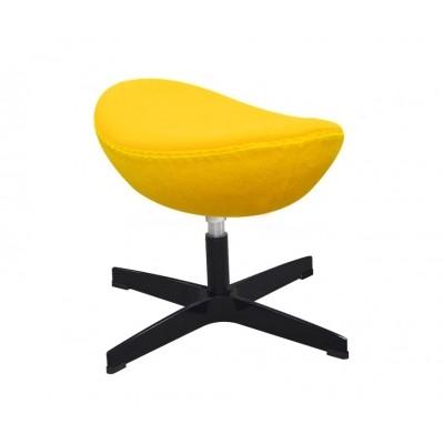 King Home Podnóżek EGG CLASSIC BLACK żółty słoneczny.36 - wełna, podstawa czarna JH-027.ZOLTY.36.B