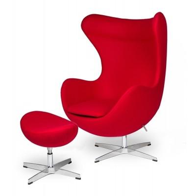 King Home Podnóżek EGG CLASSIC czerwony.17 - wełna, podstawa aluminiowa JH-027.CZERWONY.17