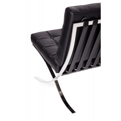 King Home Sofa dwuosobowa BARCELON czarna - włoska skóra naturalna, stal T03-2.BLACK