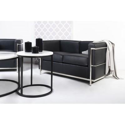 King Home Sofa dwuosobowa SOFT LC2 czarna - włoska skóra naturalna, metal T011A-2S.SOFT