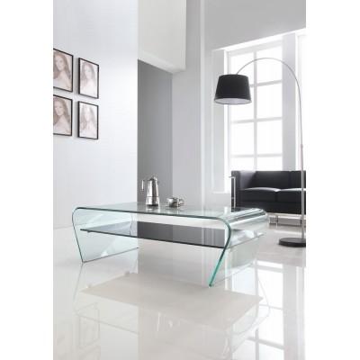 King Home Stolik szklany CASA VIOLINO z półką  - szkło transparentne, półka czarna K-005.POLKA.CZARNA
