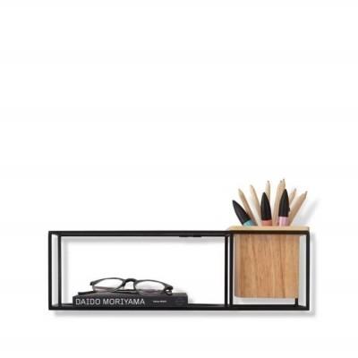Umbra UMBRA półka CUBIST SMALL czarna - metal, drewno 470755-427