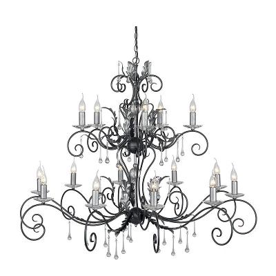 Elstead Lighting Piętnastoramienny Żyrandol Amarilli, Czarno-Srebrny