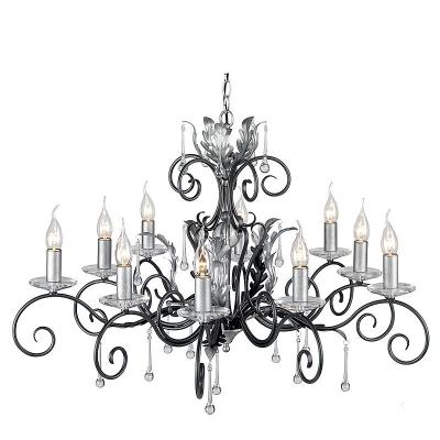 Elstead Lighting Dziesięcioramienny Żyrandol Amarilli, Czarno-Srebrny