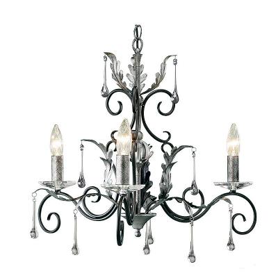 Elstead Lighting Trzyramienny Żyrandol Amarilli, Czarno-Srebrny