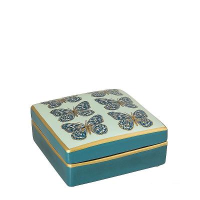 Kwadratowa Szkatułka Niebiesko Złota z Motylkami