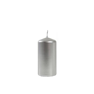 Świeca Metaliczna Srebrna, Słupek 6 cm x 12 cm