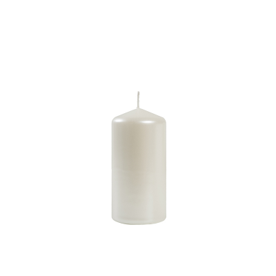 Świeca Metaliczna Biała, Słupek 6 cm x 12 cm