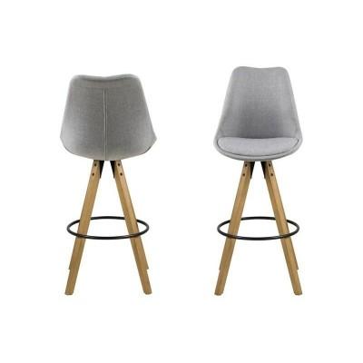 Actona ACTONA stołek barowy tapicerowany DIMA  - jasnoszary, nogi drewniane 0000067370