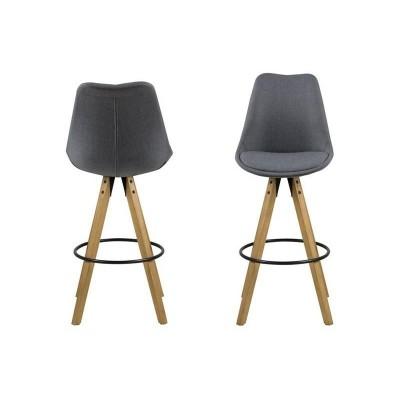 Actona ACTONA stołek barowy tapicerowany DIMA  - ciemnoszary, nogi drewniane 0000067371