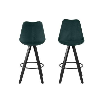 Actona ACTONA stołek barowy tapicerowany DIMA  - butelkowy zielony, nogi czarne 0000076719