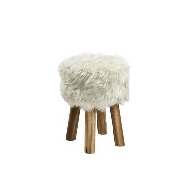Actona ACTONA stołek MAREN biały - sztuczne futro, nogi dębowe 0000072658