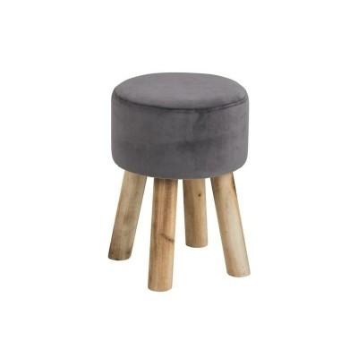 Actona ACTONA stołek MAREN szary - welur, nogi dębowe 0000072654