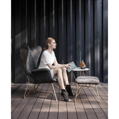 Fotel SHRIMP ALCANTARA ciemny szary  - alcantara, podstawa złota KH389-3.HM2101-9.DG