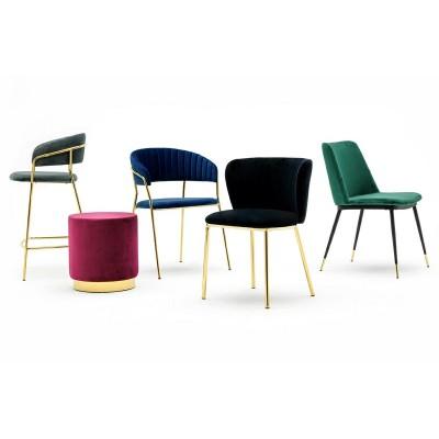King Home Krzesło DIEGO zielone - welur, podstawa czarno złota KH1201100122.GREEN