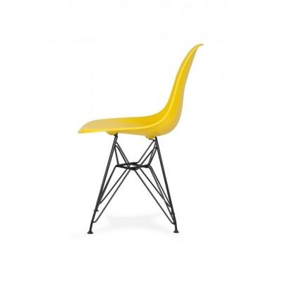 King Home Krzesło DSR BLACK słoneczny żółty.09 - podstawa metalowa czarna K-130.YELLOW.09.DSRB