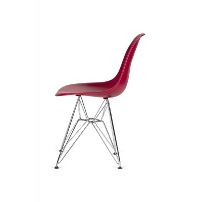 King Home Krzesło DSR SILVER bordowy.36 - podstawa metalowa chromowana K-130.CLARET.36.DSR