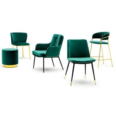 King Home Krzesło MANTIS ciemny zielony - welur, podstawa złota KH1201100132.GREEN