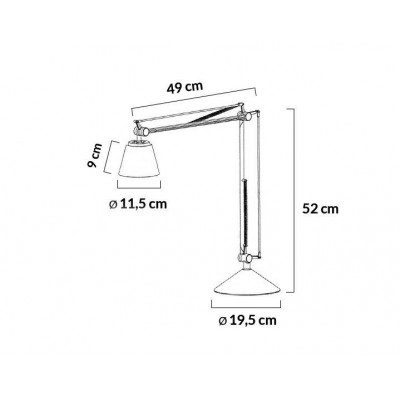 King Home Lampa biurkowa RAYON ARM TABLE biała - LED, klosz z akrylu 720T.WHITE