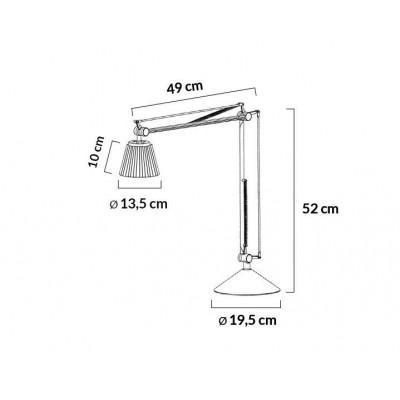 King Home Lampa biurkowa RAYON ARM TABLE biała - LED, klosz z tkaniny 720T.WH.FABRIC