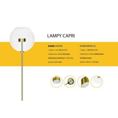King Home Lampa podłogowa CAPRI FLOOR 6 złota - LED, aluminium, szkło XCF9148-2-180