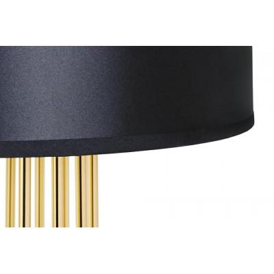 King Home Lampa podłogowa HOLMES STRAIGHT złota z czarnym kloszem -  metal XCF7583-164