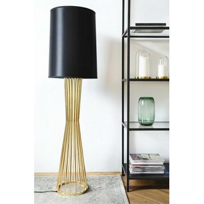 King Home Lampa podłogowa HOLMES złota z czarnym kloszem -  metal XCF7583-145