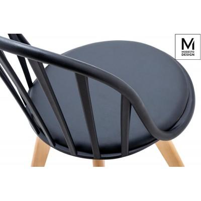 Modesto Design MODESTO krzesło ALBERT czarne - polipropylen, ekoskóra, drewno bukowe PW801.BLACK